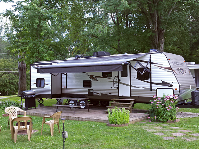 Bunkhouse RV Rental Exterior at Brook n Wood Campground