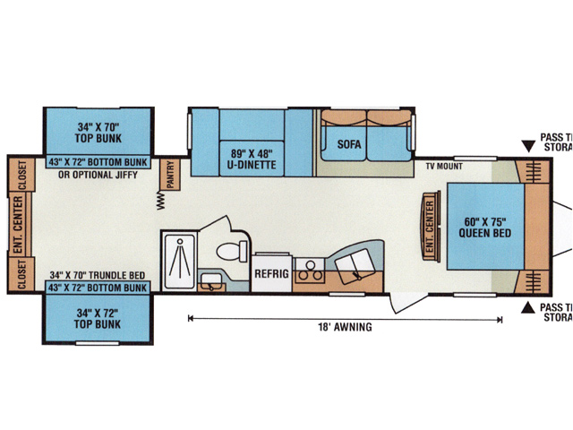 Bunkhouse RV Rental Floorplan at Brook n Wood Campground