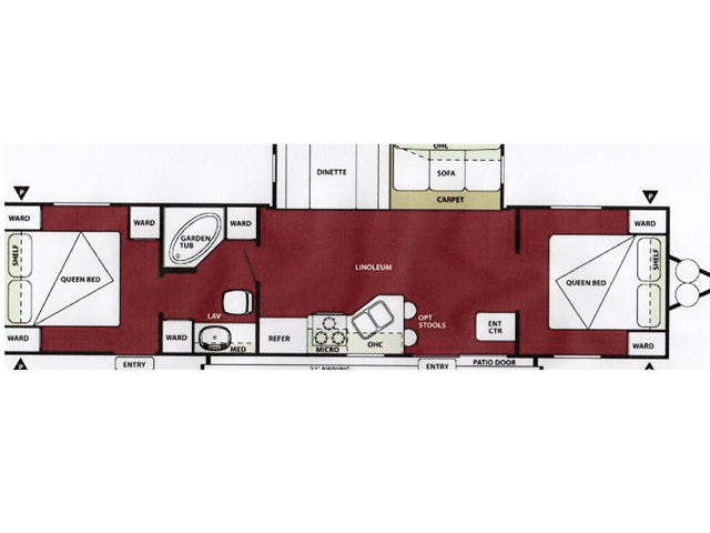 Queen RV Rental Floorplan at Brook n Wood Campground