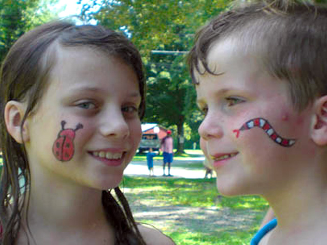 Face painting at Brook n Wood Campground